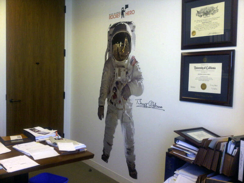 Buzz Aldrin Fathead in office